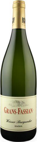 Frontansicht der Flasche von Grans Fassian Weißer Burgunder Weißwein
