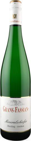 Frontansicht der Flasche von Grans Fassian Mineralschiefer Riesling Weißwein