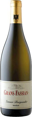 Frontansicht der Flasche von Grans Fassian Grauer Burgunder Weißwein